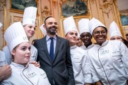 Echange en janvier 2020 entre les apprentis de l'Ecole de Paris des Métiers de la Table et Edouard Philippe, Premier ministre, à l'occasion des traditionnels vœux des boulangers du Grand Paris.
