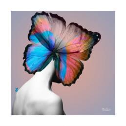 La femme à tête de papillon ou plus exactement d'ailes de papillons.